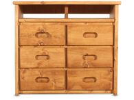 Six-Drawer Solid pine Media Chest in Cinnamon