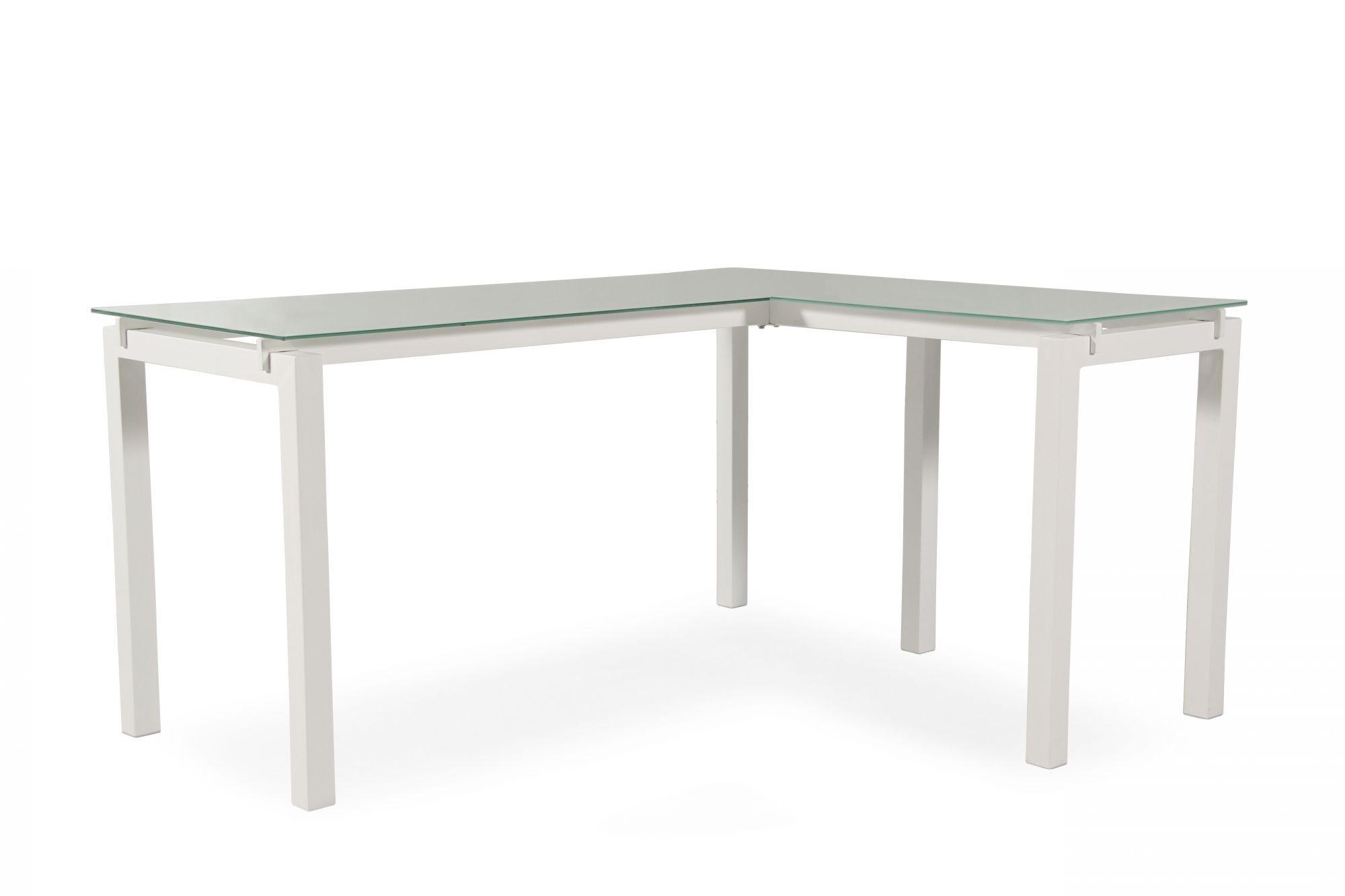 61u0026quot; Contemporary L Shaped Desk In White