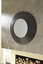 "36"" Contemporary Circular Accent Mirror in Brown"