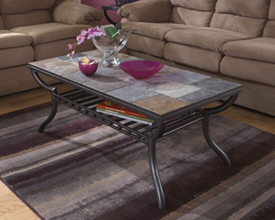 Rectangular Transitional Cocktail Table in Gunmetal