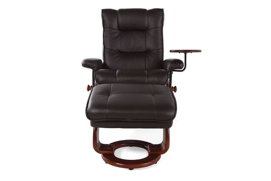 """Contemporary 34"""" Swivel Reclining Chair and Ottoman in Brown"""