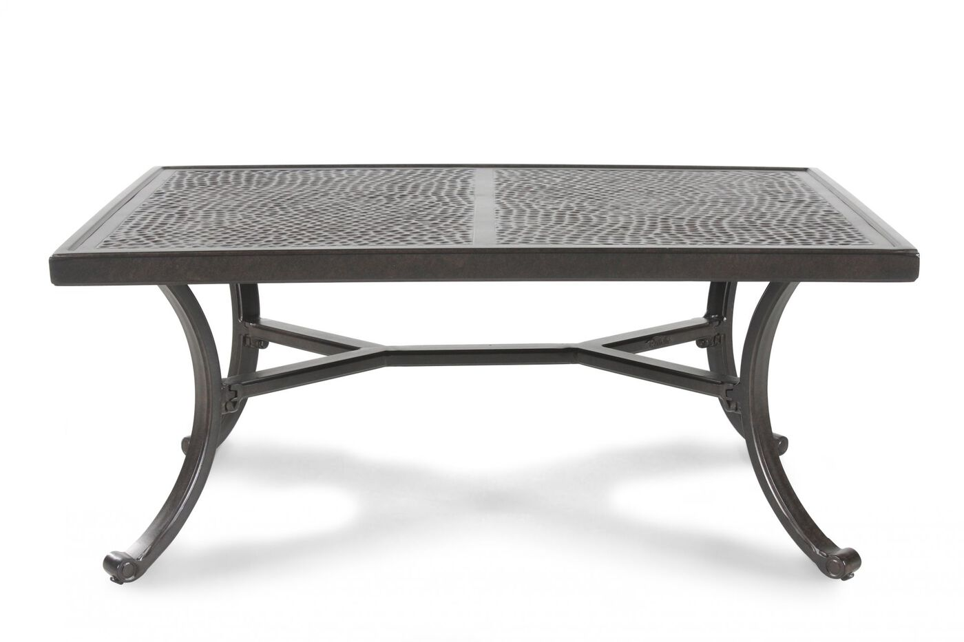 hammered top aluminum patio dining table in dark brown mathis brothers furniture. Black Bedroom Furniture Sets. Home Design Ideas
