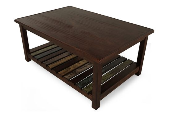 Xylophone-Shelf Rectangular Casual Cocktail Table in Brown