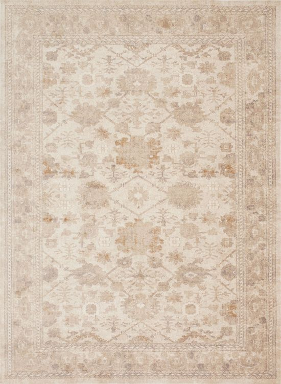 """Traditional 1'-6""""x1'-6"""" Square Rug in Antique Ivory"""