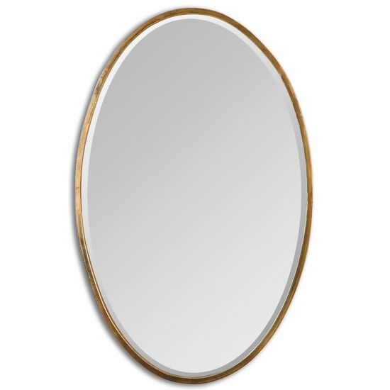 "28"" Hand Forged Beveled Accent Mirror in Antiqued Gold"