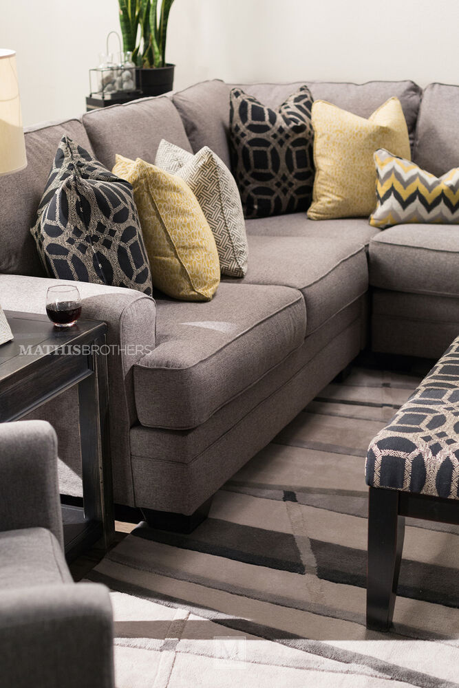 Four piece contemporary 155quot sectional in gray mathis for 5 piece grey sectional sofa