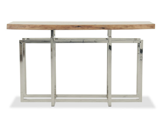 Geometric Base Contemporary Console Table in Silver