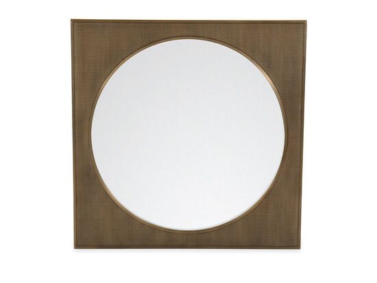 """42"""" Modern Square Mirror in Tapestry Gold"""