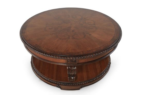 Round Burnished Cocktail Table in Brandy
