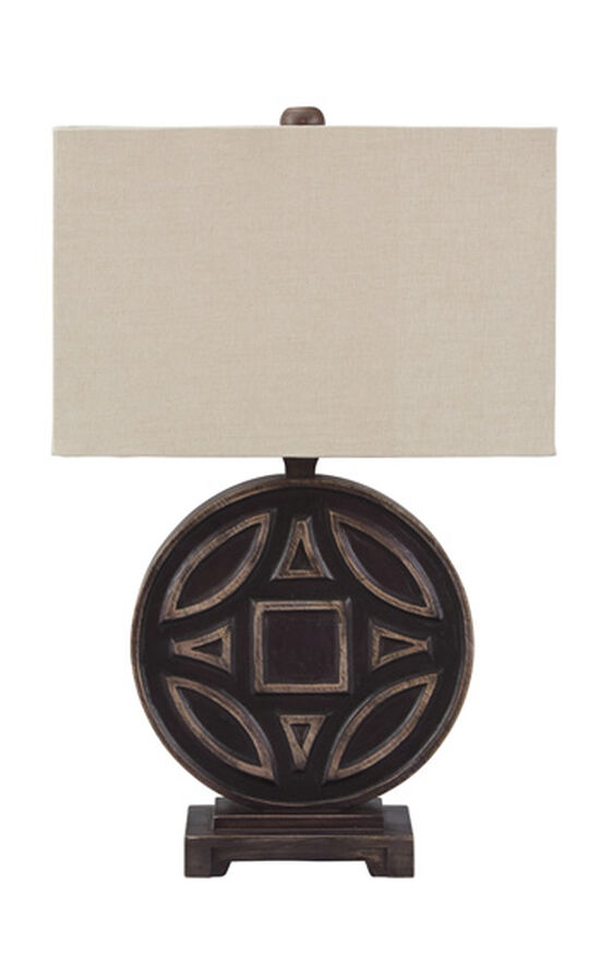 Casual Raised-Pattern Table Lamp in Rubbed Black
