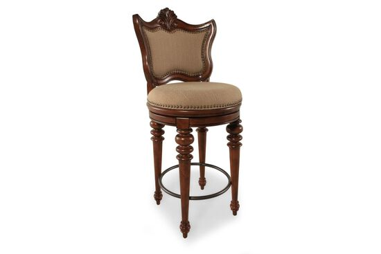 Nailhead Accented 48 Quot Swivel Bar Stool In Cherry Mathis