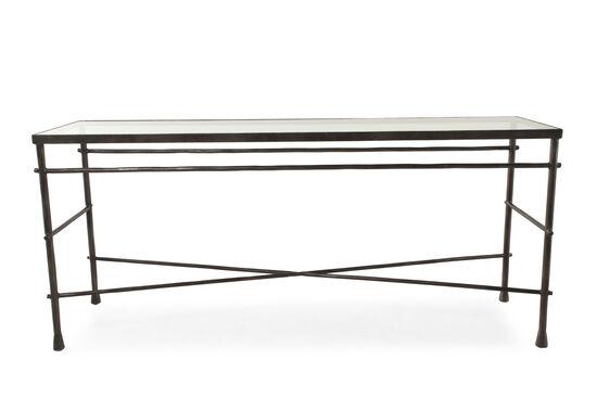 Cross-Braced Traditional Sofa Table in Gunmetal Gray