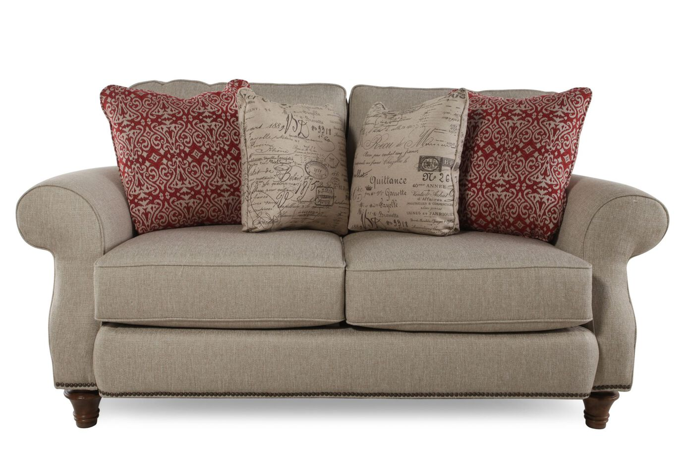 Traditional 72 loveseat in oyster mathis brothers furniture for Traditional loveseat