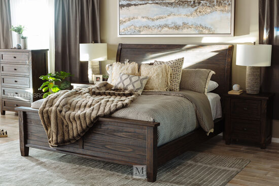 """57"""" Distressed Solid Pine Sleigh Bed in Dark Brown"""
