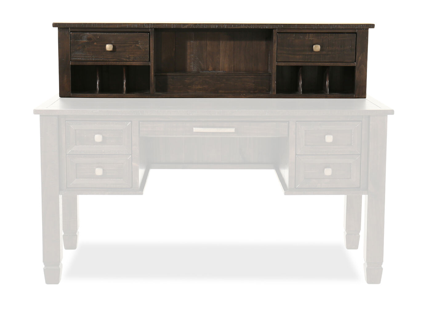 Home Office Desk With Hutch 58\\u0026quot; Two-Drawer Solid Wood Desk ...