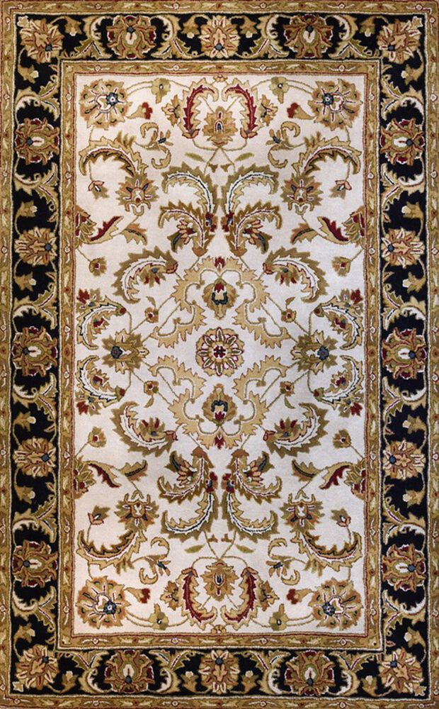 Lb Hand Tufted Wool Black Ivory Traditional Rug Mathis