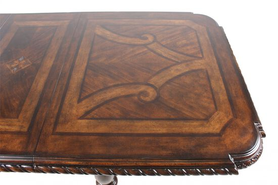 """76"""" Turned Leg Traditional Dining Table in Dark Brown"""
