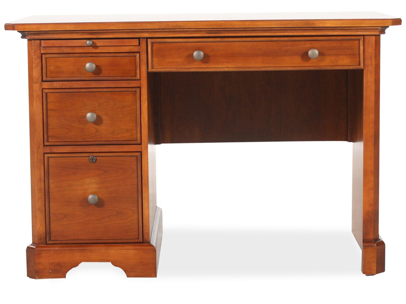 47 country three drawer writing desk in brown mathis brothers furniture. Black Bedroom Furniture Sets. Home Design Ideas