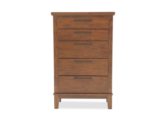 "56"" Five-Drawer Contemporary Chest in Medium Brown"