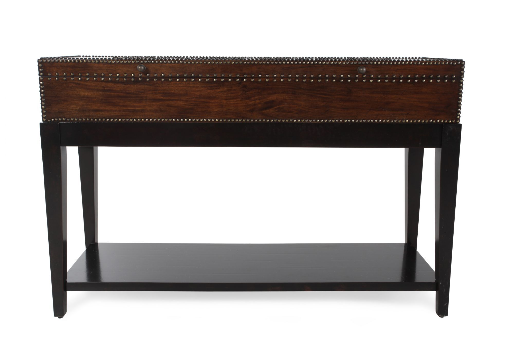 Images Nailhead Trimmed Contemporary Console Table In Peppercorn  Nailhead Trimmed Contemporary Console Table In Peppercorn