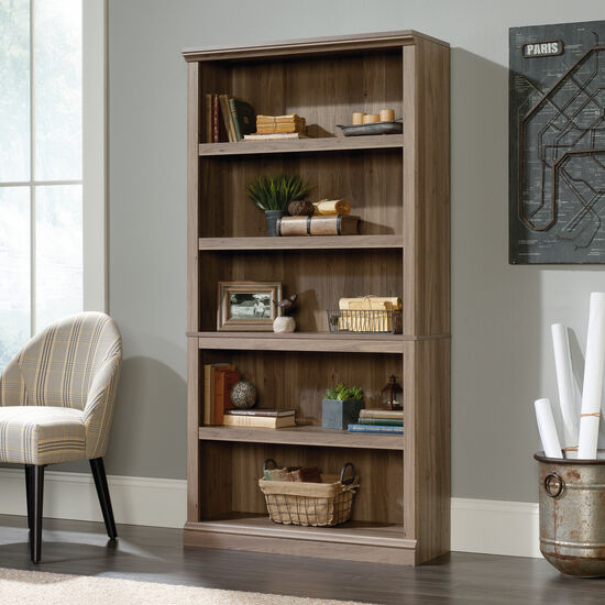 Contemporary Adjustable Shelf Open Bookcase in Salt Oak