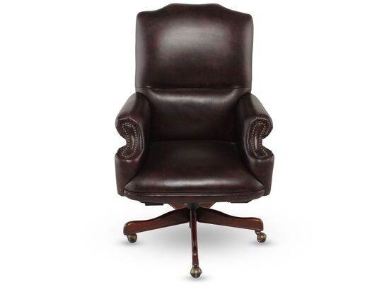 Leather Executive Swivel Tilt Chair in Rich Brown