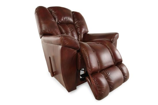 """Contemporary 38"""" Leather Recliner in Mahogany"""
