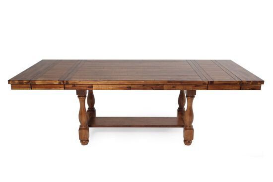 "Traditional 68"" to 92"" Extendable Pedestal Dining Table in Medium Brown"