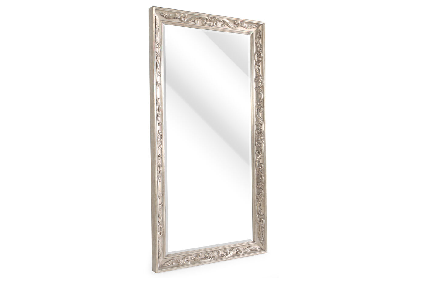 80 Contemporary Carved Floor Mirror In Metallic Gold