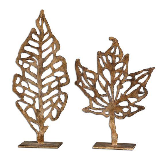 Two-Piece Openwork Sculptures in Gold Leaf