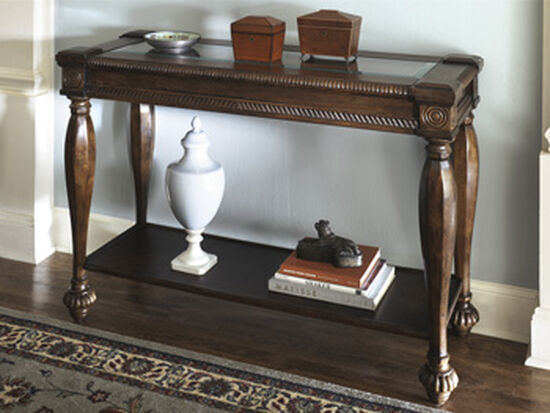 Framed Top Traditional Sofa Table in Dark Brown