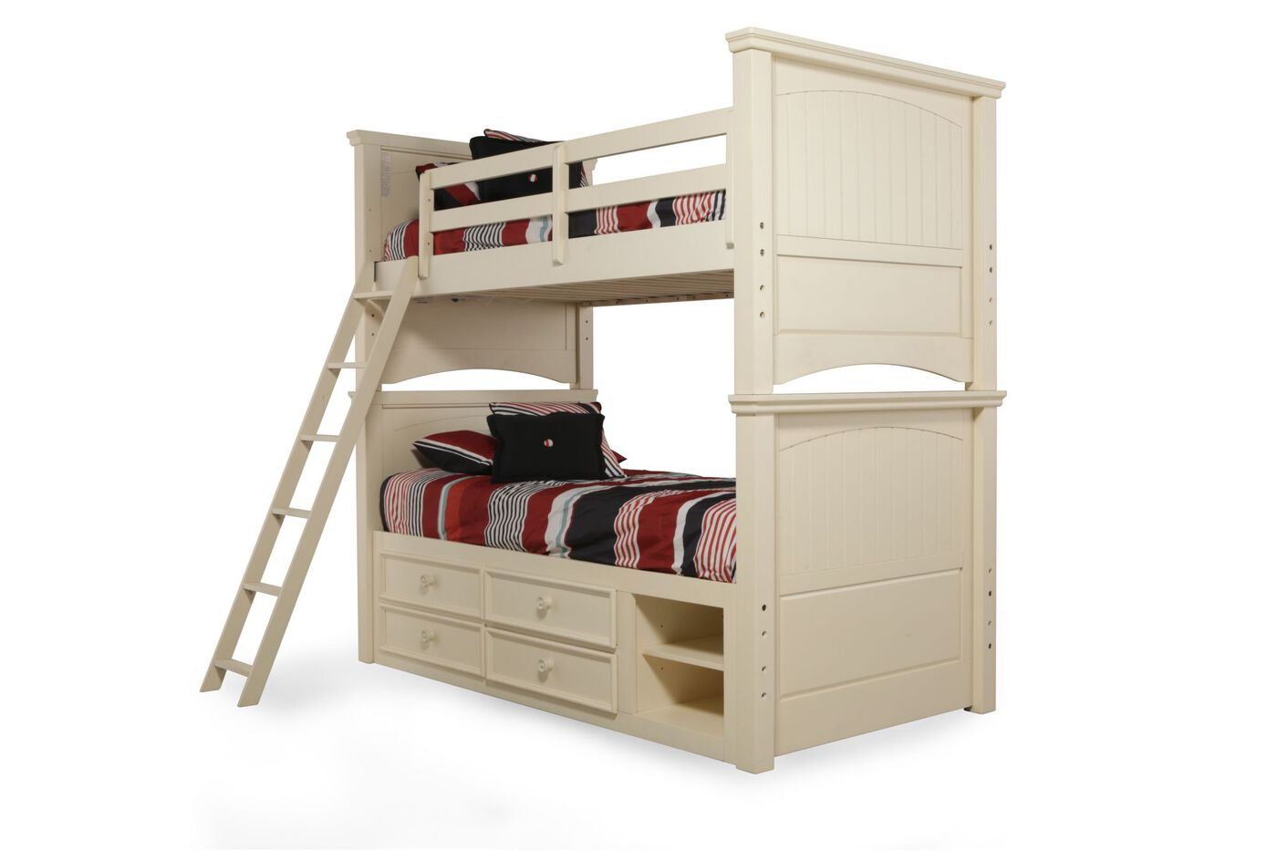 Traditional youth twin over twin bunk bed with storage for Over bed shelving unit