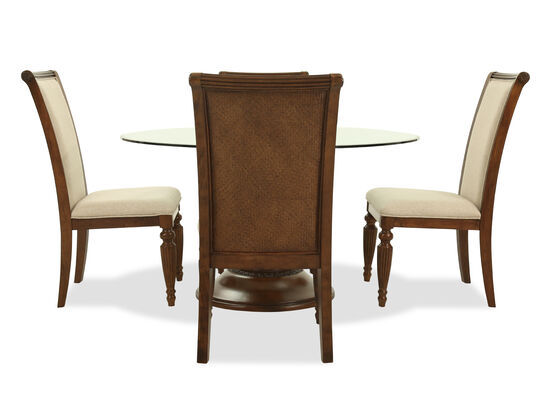 Five-Piece Traditional Round Glass Top Dining Set in Medium Brown