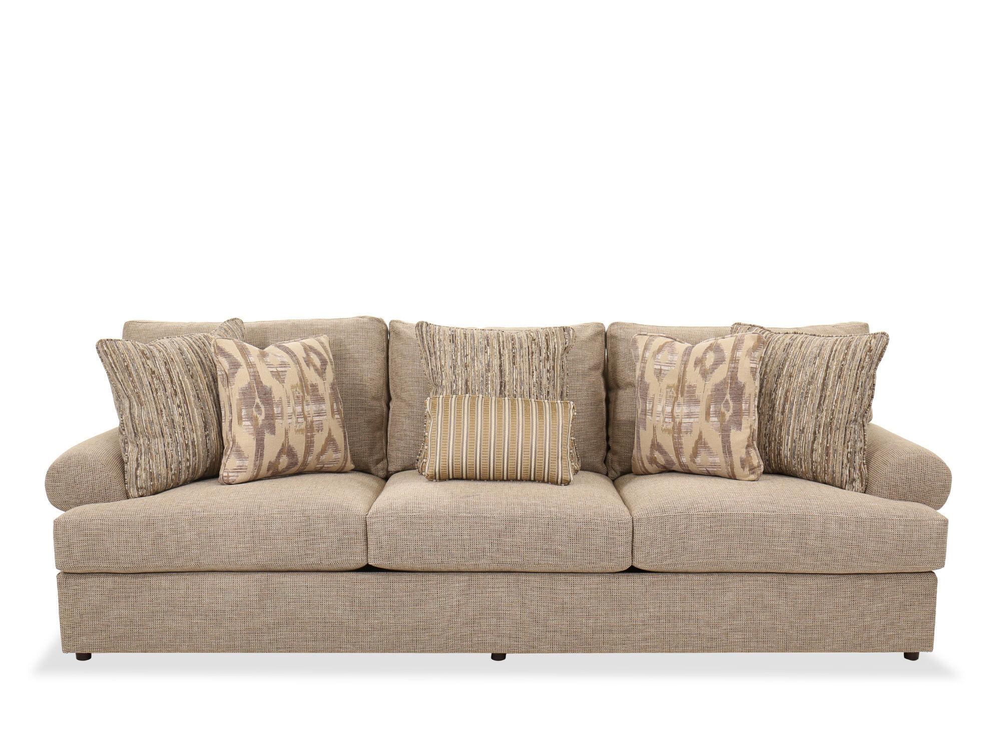 Contemporary 117u0026quot; Sofa In Brown
