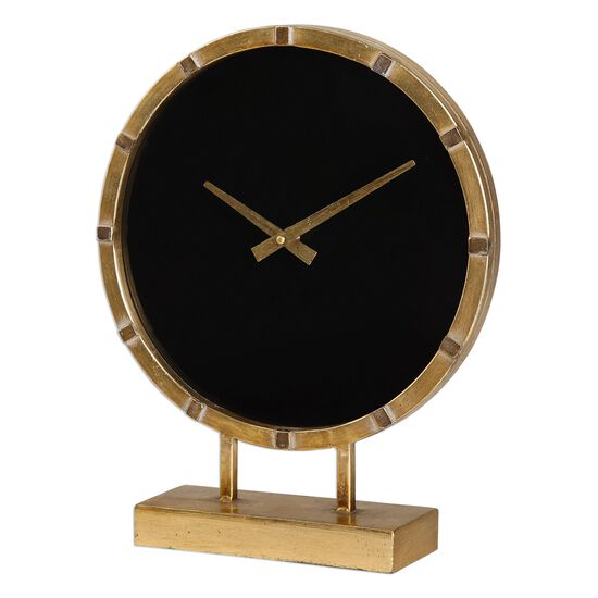 Round Table Clock in Antiqued Gold Leaf