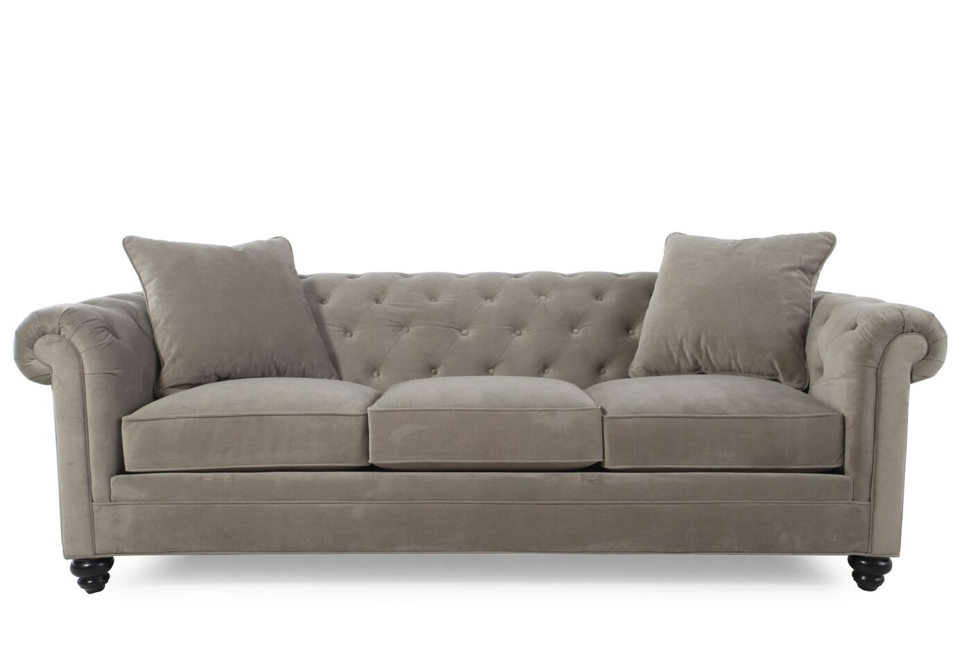 contemporary button tufted 92 sofa in gray mathis. Black Bedroom Furniture Sets. Home Design Ideas