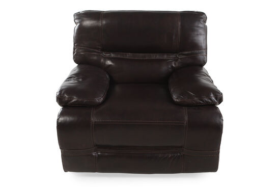 Pillow Top Arms Leather 45'' Power Recliner in Brown
