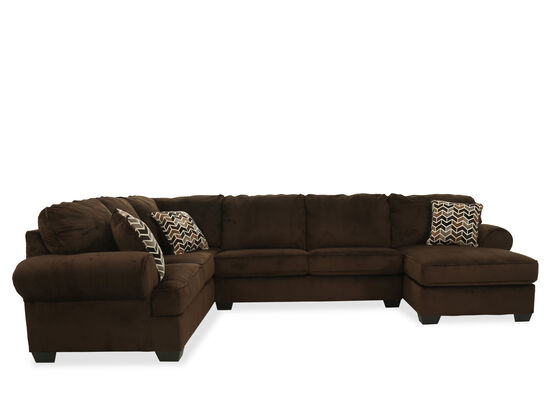 Three-Piece Casual Striped Sectional in Chocolate