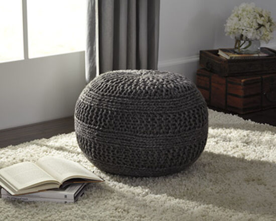 "Rib Knit Casual 14"" Pouf in Charcoal"