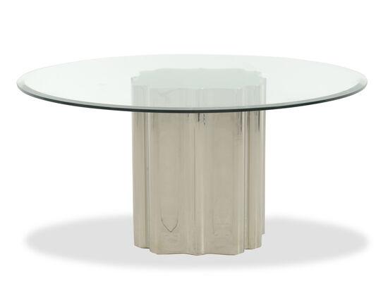 "Modern 60"" Round Glass Top Pedestal Table in Medium Gold"