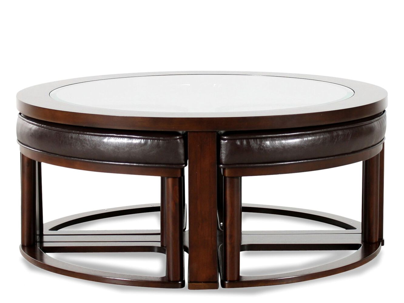 Round contemporary cocktail table in dark merlot mathis for Round contemporary coffee table