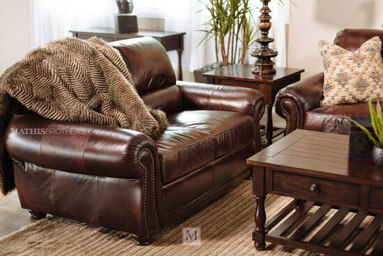 "Naihead-Trimmed Traditional 63"" Loveseat in Brown"