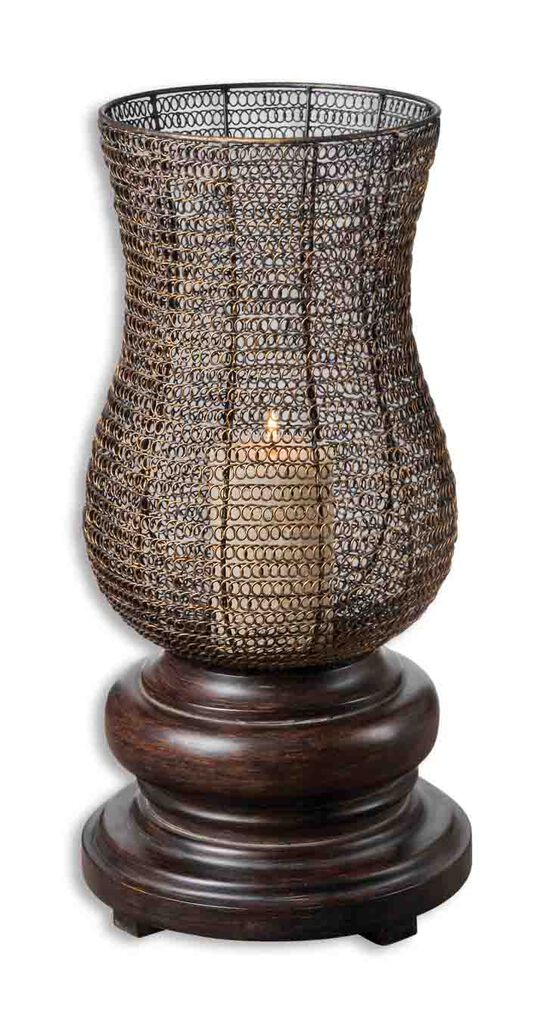 Distressed Candle Holderin Chestnut Brown