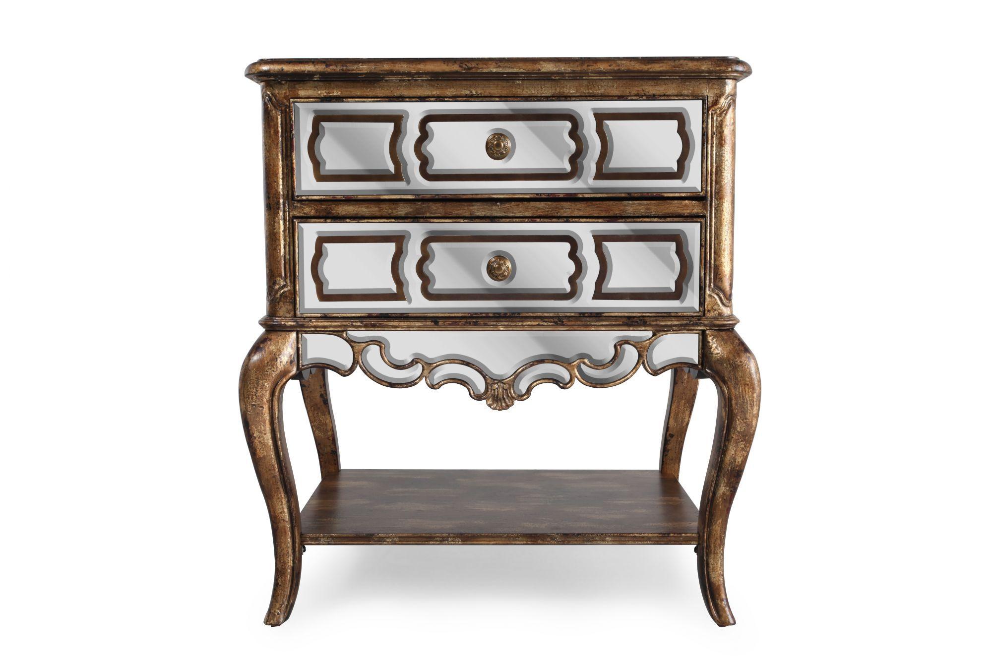 hooker sanctuary mirrored leg nightstand