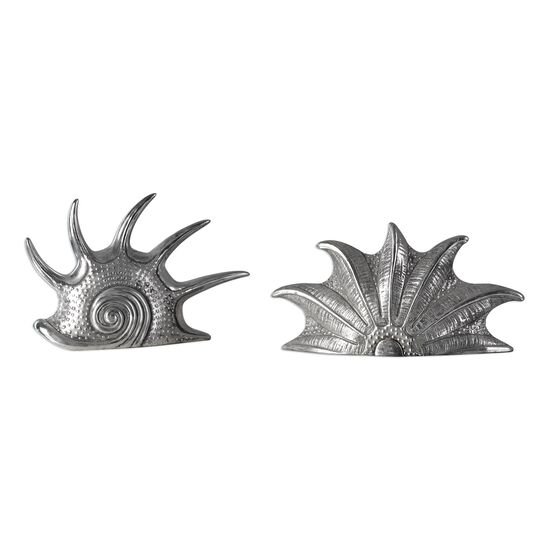 Two-Piece Mollusc Sculptures in Silver