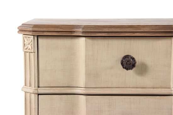 "42"" Hand Distressed Four-Drawer Dresser in Antique Cream"