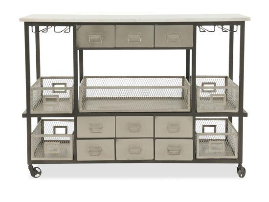 """52"""" Nine-Drawer Sideboard with Stemware Racks in Silver"""