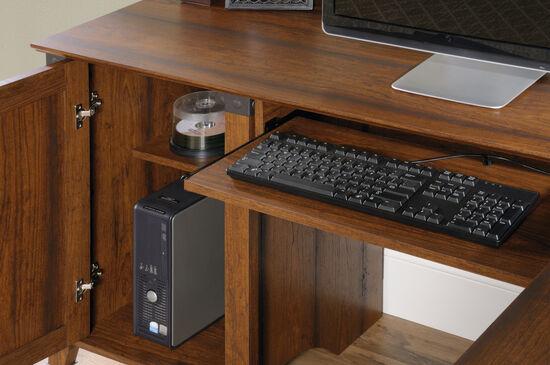 "66"" Traditional Three-Drawer Corner Computer Desk in Washington Cherry"