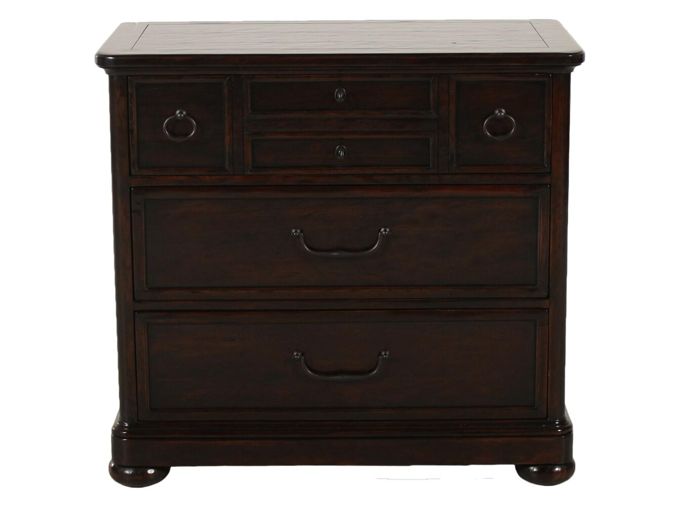 35 traditional bachelor 39 s chest in molasses mathis brothers furniture for Bernhardt vintage patina bedroom