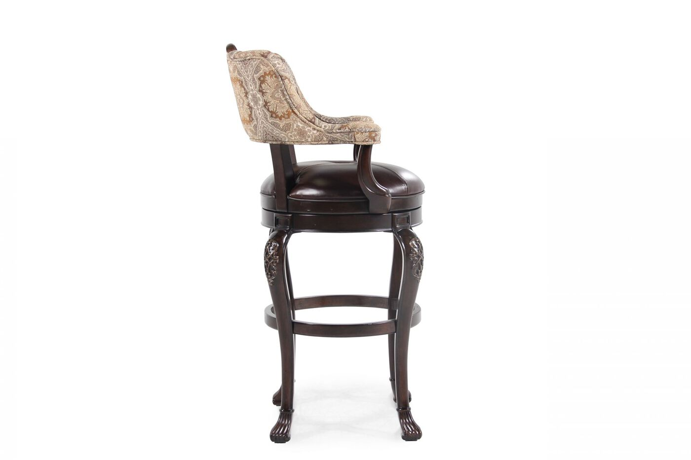 Traditional 47 Quot Swivel Bar Stool In Dark Brown Mathis